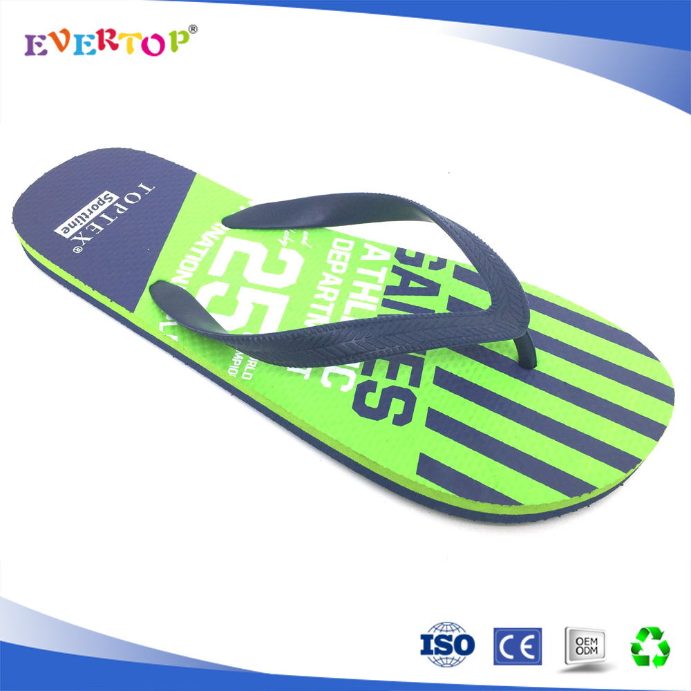Custom brand fantastic summer beach two color sole bright green flip flop men