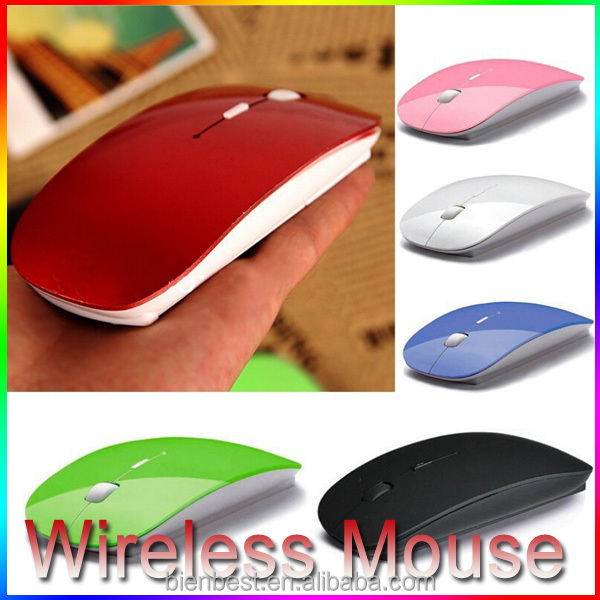 Candy Color Ultra Thin USB Optical Wireless Mouse 2.4G Receiver Super Slim Mouse Cordless Computer PC Laptop Desktop