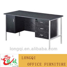high quality modern fashion style steel frame melamine top with three lockable drawer cabinet wooden office table