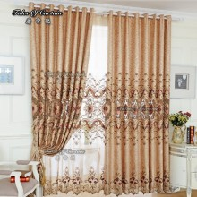 luxury drapes curtain with high quality and chenile embroidery curtain fabric.