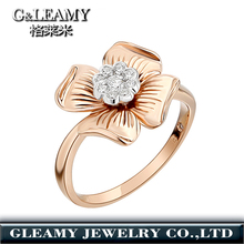 Flower Shape rose Gold Plated Wedding Rings For Women Different Types Stones Fancy Rings