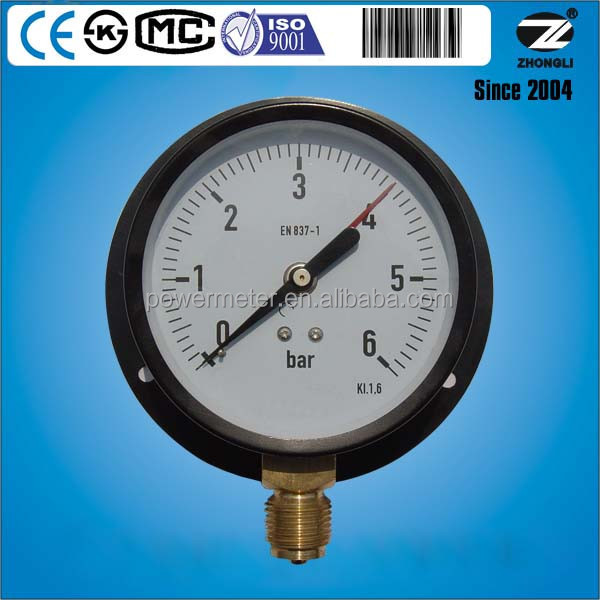 100mm steel case panel mounting pressure gauge 10bar with red pointer
