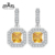 Rinntin 2017 Lasted Jewelry Square Yellow Zircon 27 pieces Dangle Earrings with Micro Paved Clear CZ For Women RIE127