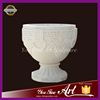 Hand carved white marble large flower pot for outdoor decoration