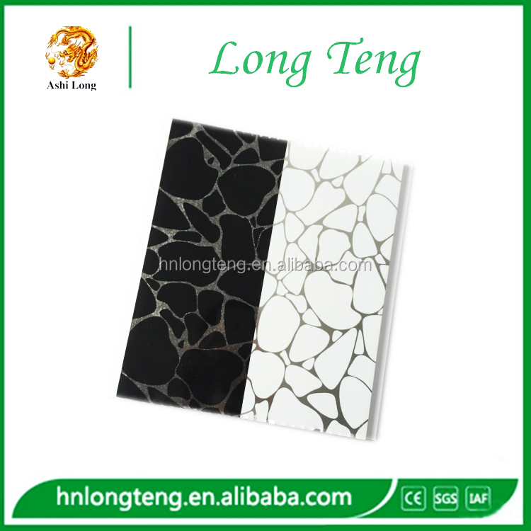 25cm marble stone design hot stamping pvc ceiling panels in china