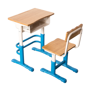 children Kids Set School furniture Bamboo Height Adjustable Student Study chair and Table Desk