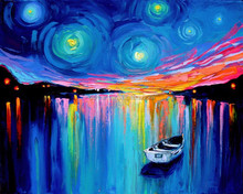 Unique Beautiful Landscape Starlit Night Boat Oil Painting On Canvas Abstract Ship Stay In Seaside Painting Picture Wholesale