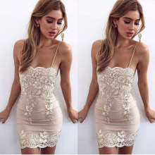 2018 Elegant Strapless Bodycon Sexy Lace Patchwork Bandage Celebrity Evening Party Dress