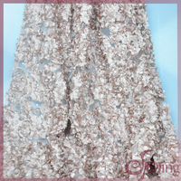lace embroidery fabric with 3D coiling tape for wedding dress, party dress