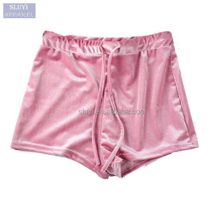 women sexy booty shorts 2017 summer elastic waist stretching solid color elegant short Fitness cool mini velvet shorts women
