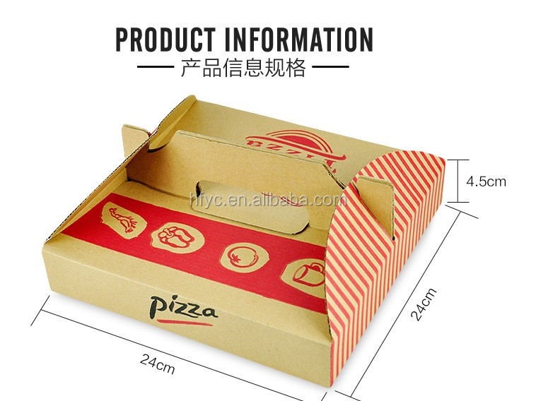 cheap made in China Customized size food package disposable kraft paper pizza box