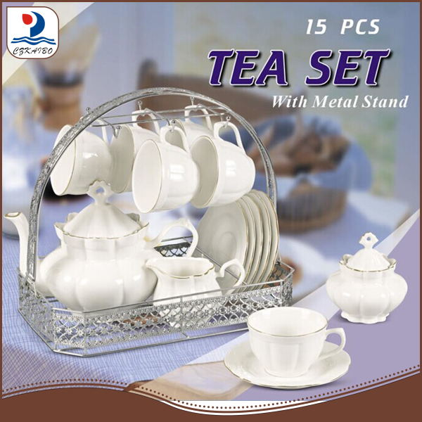 PXM988-15/S metal stand classic bone china coffee and tea set with gold line