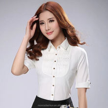 monroo Trim Pintuck Shirts Womens New Cuffs Short Sleeve Ruffles Pleated Wave Formal Blouse Tops Elegant Ladies Office Shirt