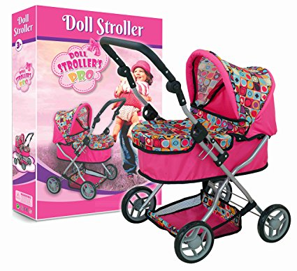 Adjustable Handle Jogger Baby Doll Stroller with toys Storage and awning Basket baby doll stroller