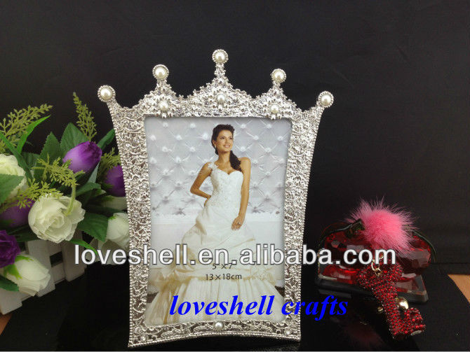 Elegant imperial crown Ivory pearl photo/picture frame 5*7""
