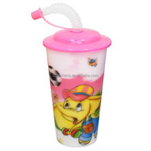 Cartoon Animals Mug Food Grade Tall Plastic Cups with Lid and Straw