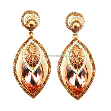 hot new imports Glass crystal earring Latest trendy rose pink Glass crystal earring