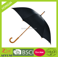 Black color walking stick umbrella with wooden shaft and handle for rainny day