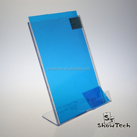 L shaped Clear Acrylic Slant Back Sign Holder Menu Holders with business card pocket