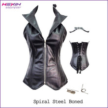 Leather Zipper Collarband Steel Boned Full Body Leather Corset