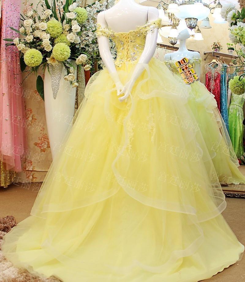 Colored Ladies Off Shoulder Floor Length Custom Made Formal Bridal ...