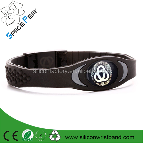 2016 Negative ion energy alloy silicone bracelet Wristbands Balance Ion Magnetic Therapy Fashion Silicone Bands