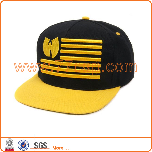 custom 5 panel snap back cap flat brim