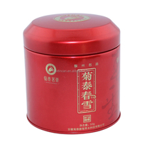 round airtight metal tin box for tea packaging with red color printed
