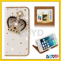 3D Crown Pattern Diamond Encrusted Leather Case with Credit Card Slots & Holder for iPhone 5 & 5S
