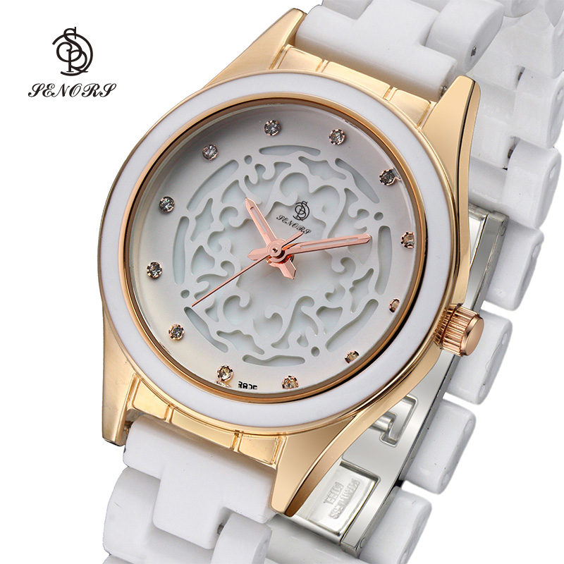 Hollow out surface brand white ceramic watches women