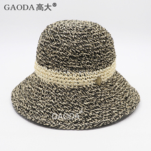 Cheap colorful foldable paper straw bucket hat ladies