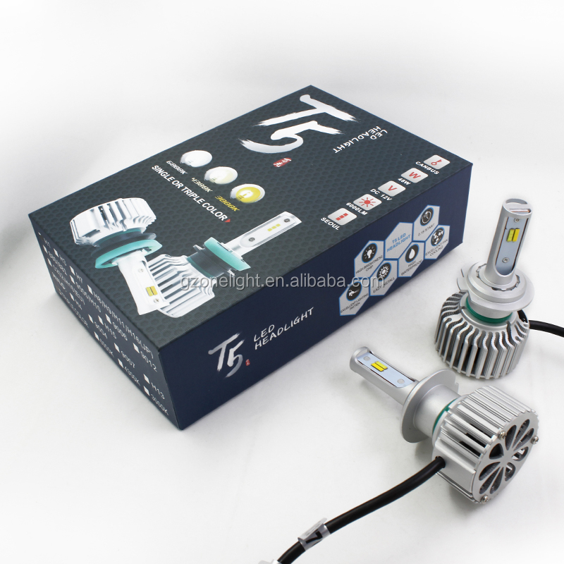 Dual color five function Car LED Headlights T5 H4 High Low Beam LED conversion kit auto head light