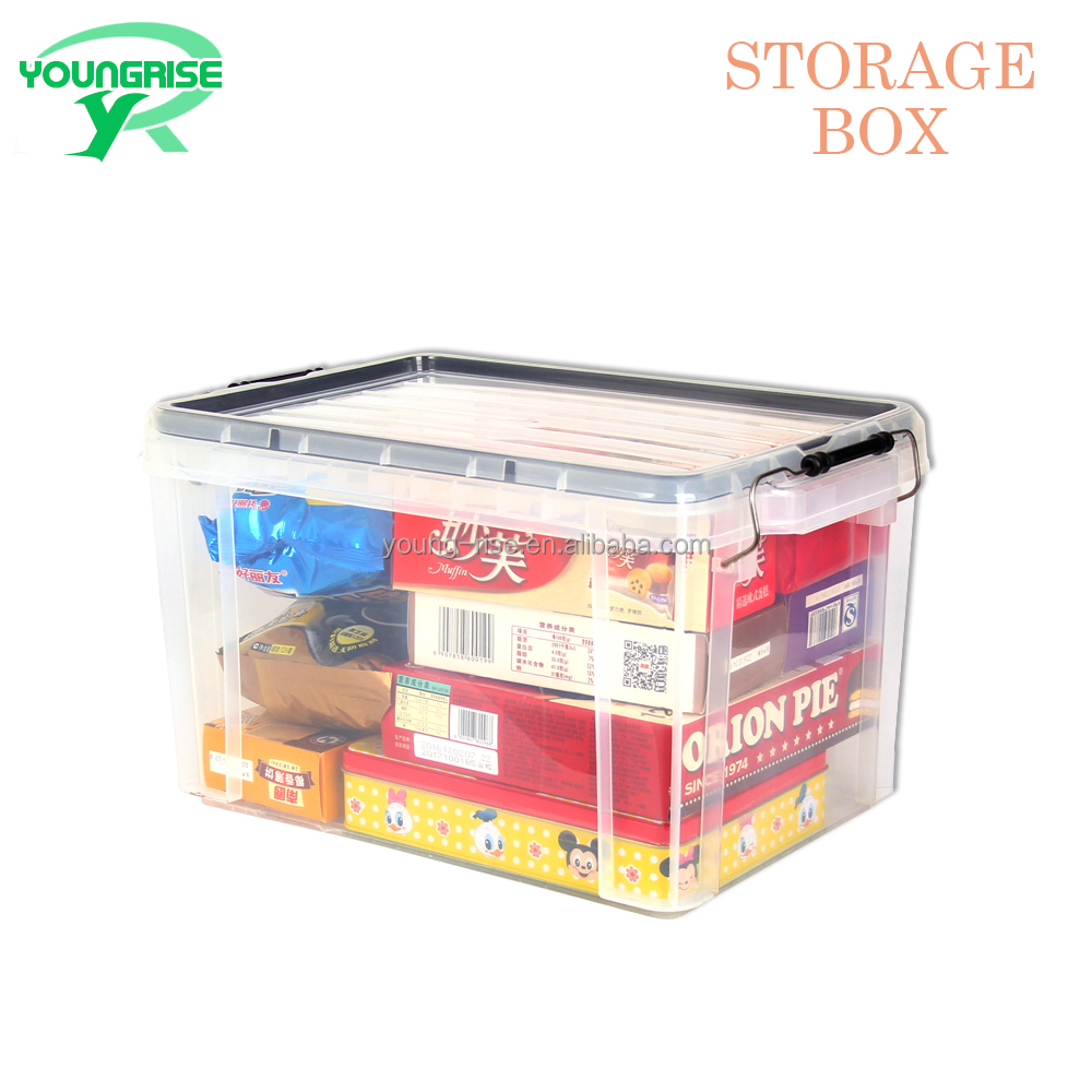 20L Home Transparent Plastic Sundries Storage Box, Clear Storage Bins With Lid
