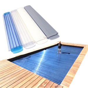 Rigid PC slat Retractable automatic pool cover roller electric swimming  pools covers