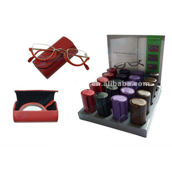 Folding reading glasses with case and display
