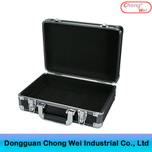 Portable Aluminum Hard Case with Foam Insert ,Hard-sided Black Toolbox with Edge Protection