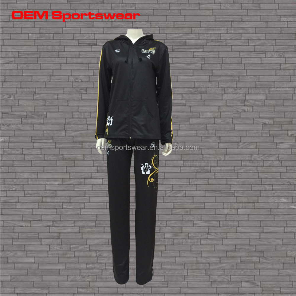 Ladies top design spandex polyester sports tracksuit