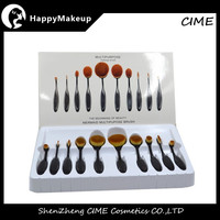 2016 hottest Oval Shape 10 Pcs Makeup Brushes Toothbrush with box