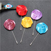 High quality silk rose flower brooch with long needle