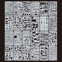 Amazon hot sell plastic drawing stencils set, journal stencil/scrapbook/diary decorating pp stencil