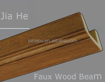 polyurethane PU faux wood beam U-shape light weight decorative building beam