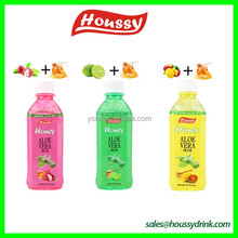 Honey Aloe vera juice drink in pet bottle with houssy brand