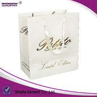 shopping use custom design printing white kraft paper bag