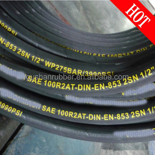 Hot 100m Retail Heat Resistance Rubber 1/2'' DIN EN853 2SN Cloth Surface fuel hydraulic <strong>hose</strong>
