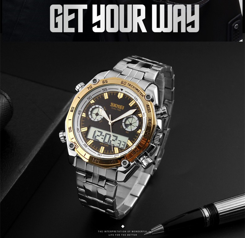 Hot selling alloy case digital skmei dual time watch fashion design metal watch