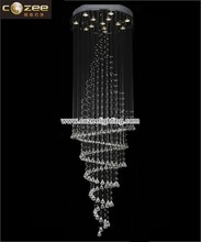 Modern Hotel Crystal Stairwell Pendant Hanging Chandeliers Lamps Lights Lighting for High Ceiling CZ8117/13