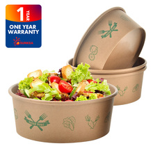 Disposable custom printed kraft paper salad bowl with cover lid
