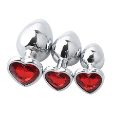 Adult sex toys 9 color options heart shaped stainless steel metal plug anal