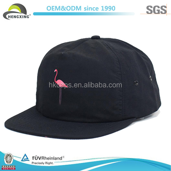 Fashion Print Custom Black Nylon 5 Panel Hats