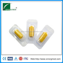 disposable yellow round shape luer lock fitting heparin cap